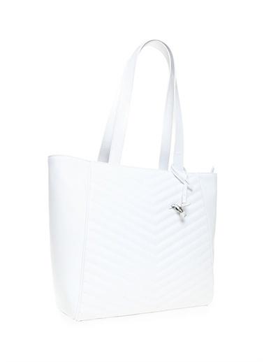 Fabrika Fabrika 44 X 31 X 11 Cm Suni Deri  Tokalı Kısa Saplı Çanta Beyaz
